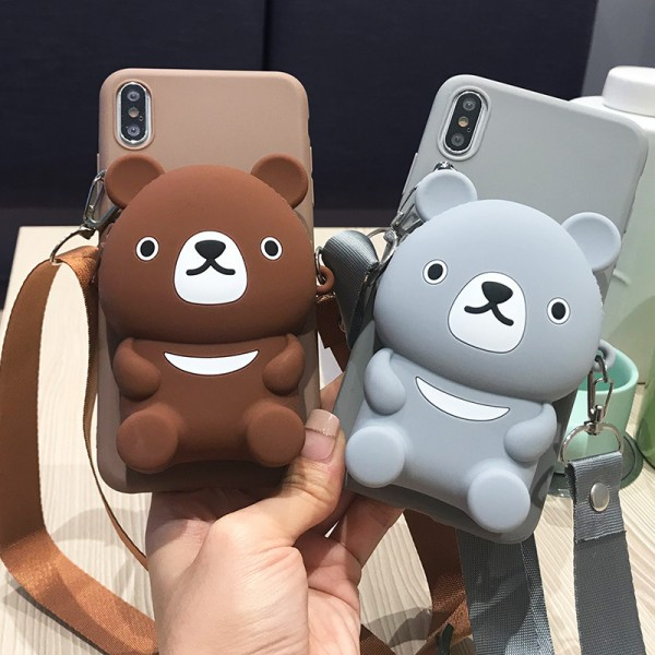Cute iPhone Cases With Bear Shape Wallet In TPU