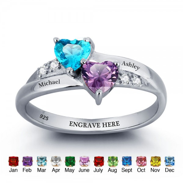 Engravable Silver Love Heart Cut 2 Stones Birthstone Ring In Sterling Silver