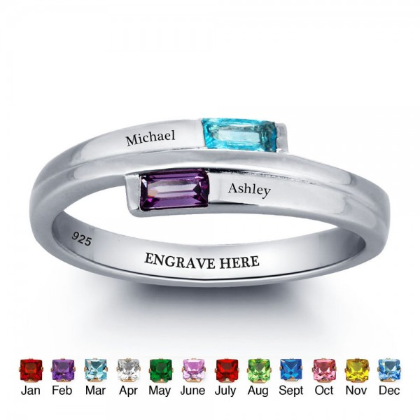 Engravable Silver Trends Baguette Cut 2 Stones Birthstone Ring In S925 Sterling Silver