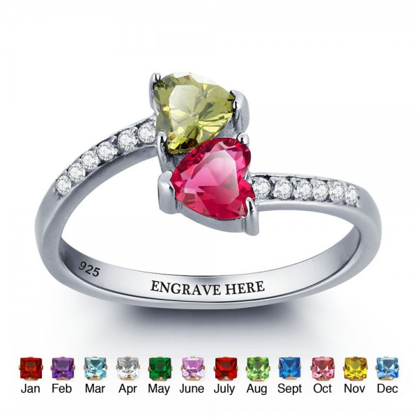 Engravable Silver Love Heart Cut 2 Stones Birthstone Ring In 925 Sterling Silver