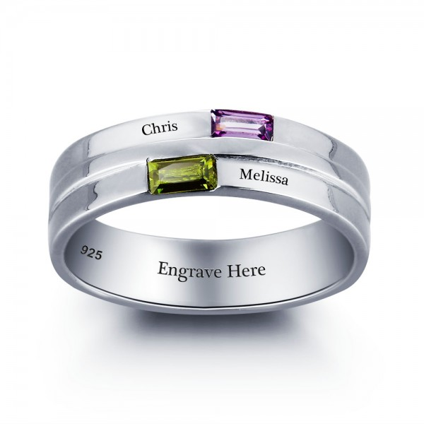 Fashion Silver Trends Baguette Cut 2 Stones Birthstone Ring In Sterling Silver