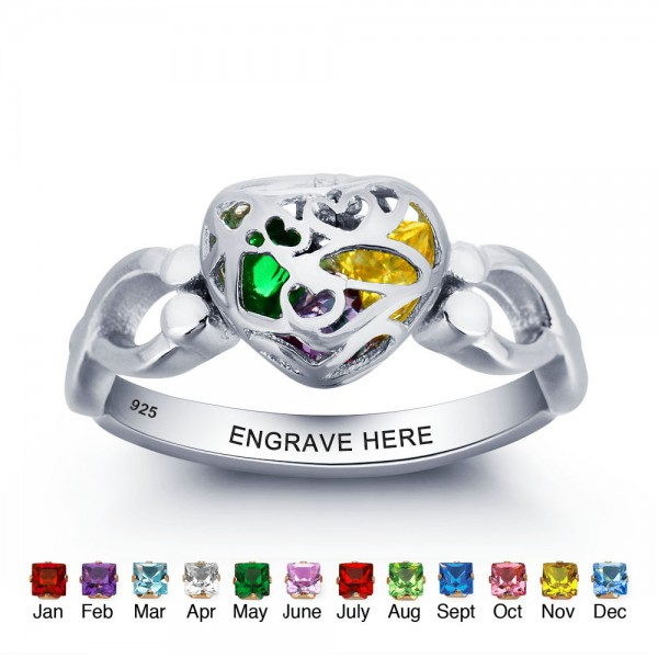 Unique Silver Cage Heart Cut 3 Stones Birthstone Ring In Sterling Silver