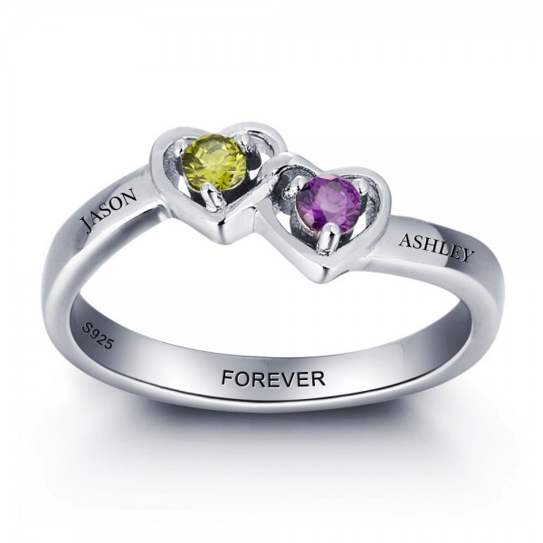 Unique Silver Heart Round Cut 2 Stones Birthstone Ring In 925 Sterling Silver