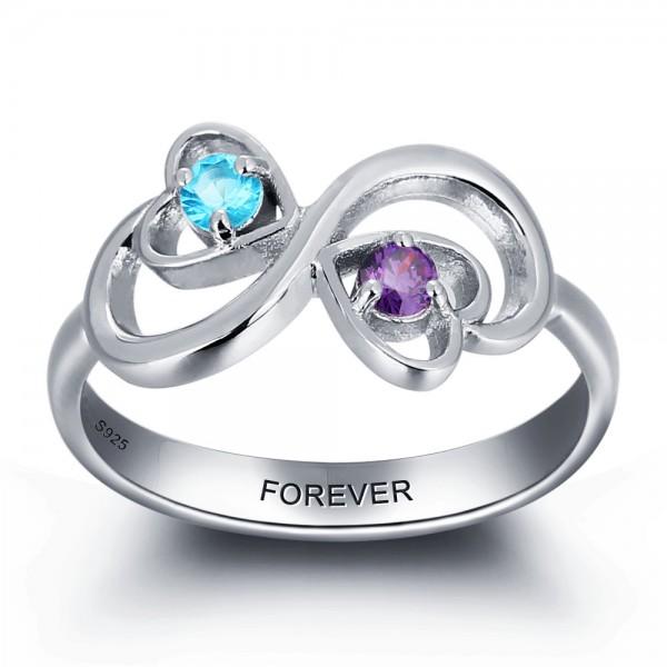 Unique Silver Symbols Round Cut 2 Stones Birthstone Ring In S925 Sterling Silver