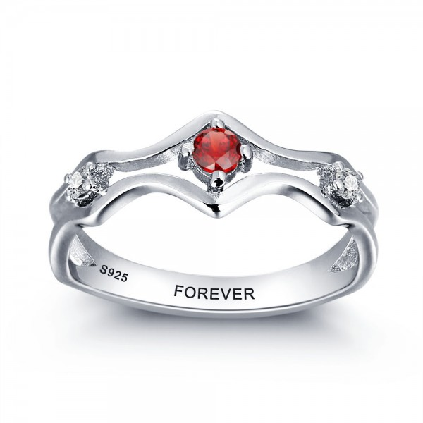 Affordable Silver Solitaire Round Cut 1 Stone Birthstone Ring In S925 Sterling Silver