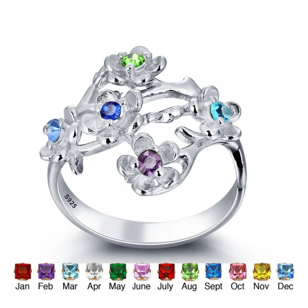 Customized Silver Flowers Round Cut 5 Stones Birthstone Ring In Sterling Silver