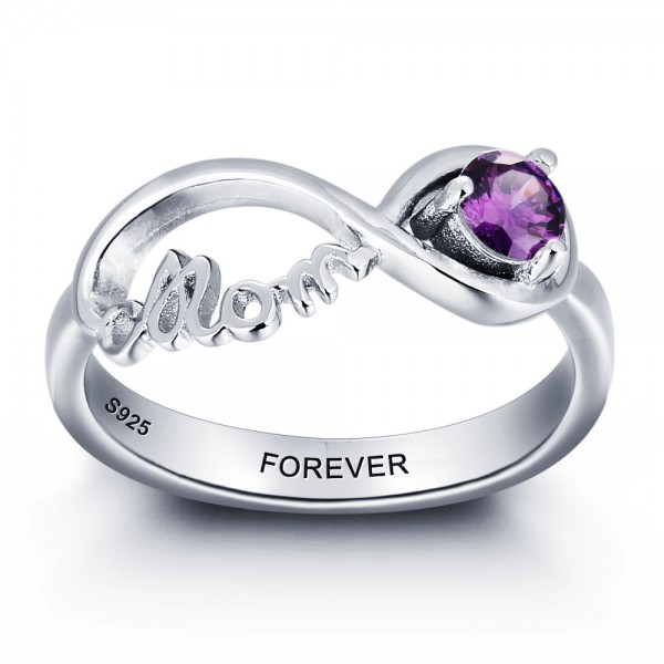 Personalized Silver Family Round Cut 1 Stone Birthstone Ring In S925 Sterling Silver