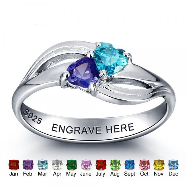 Personalized Silver Symbols Heart Cut 2 Stones Birthstone Ring In 925 Sterling Silver