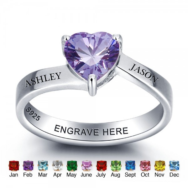 Personalized Silver Solitaire Heart Cut 1 Stone Birthstone Ring In Sterling Silver