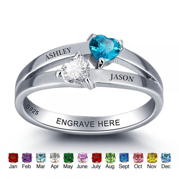 Unique Silver Symbols Heart Cut 2 Stones Birthstone Ring In S925 Sterling Silver