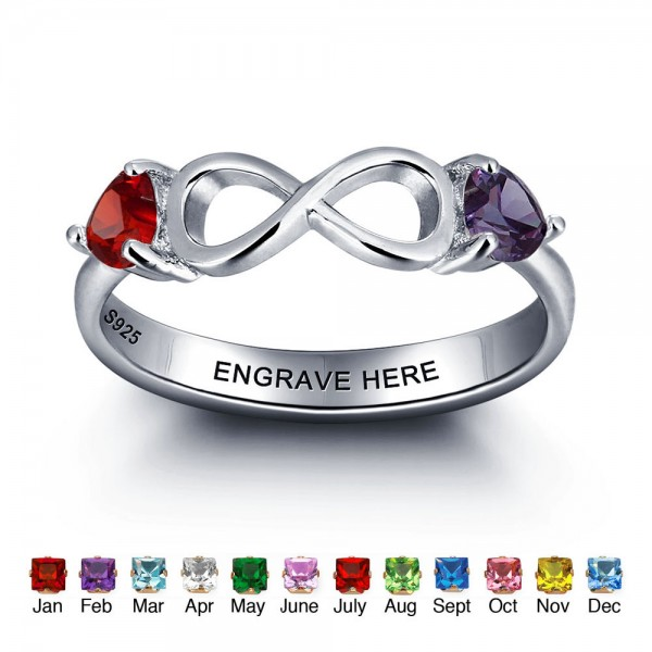 Personalized Silver Infinity Heart Cut 2 Stones Birthstone Ring In Sterling Silver