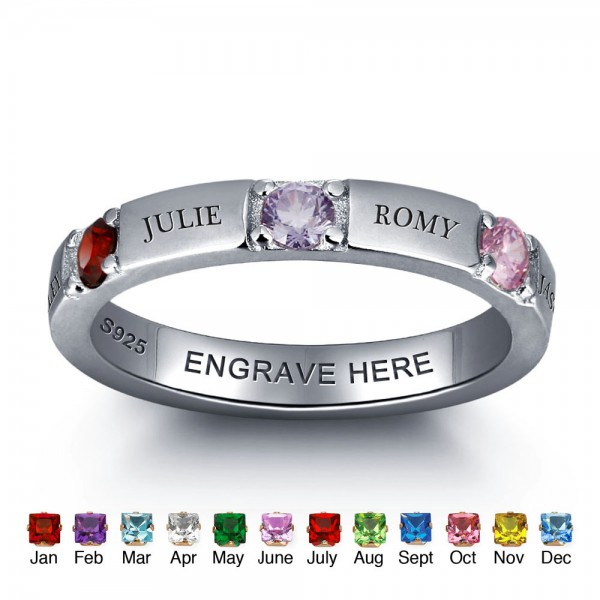 Personalized Silver Trends Round Cut 3 Stones Birthstone Ring In 925 Sterling Silver