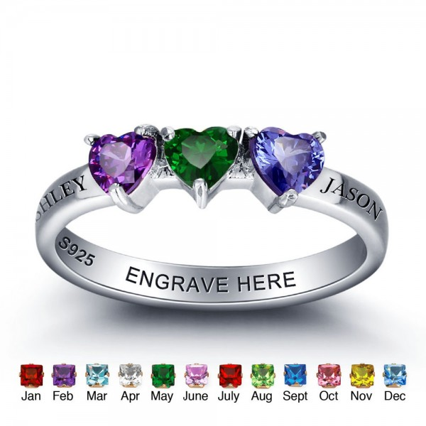Personalized Silver Trends Heart Cut 3 Stones Birthstone Ring In Sterling Silver