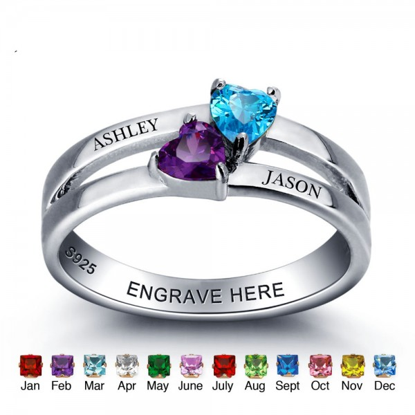 Personalized Silver Trends Heart Cut 2 Stones Birthstone Ring In Sterling Silver