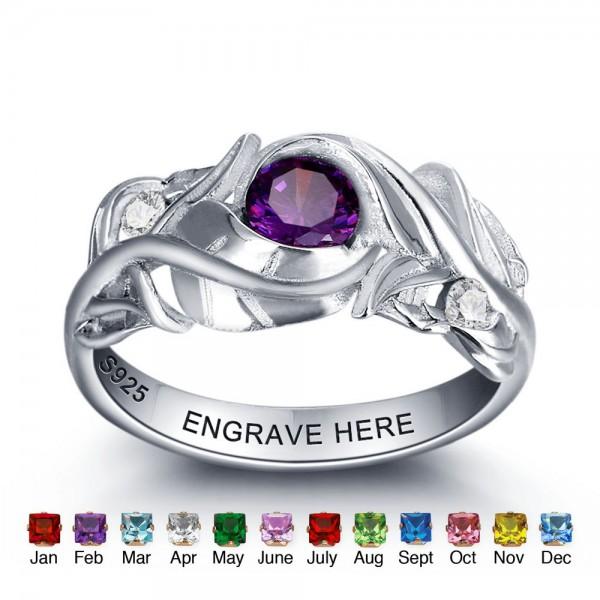 Fashion Silver Leaf Round Cut 1 Stone Birthstone Ring In Sterling Silver