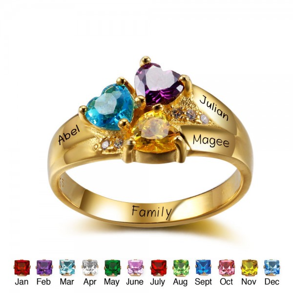 Fashion Yellow Family Heart Cut 3 Stones Birthstone Ring In S925 Sterling Silver