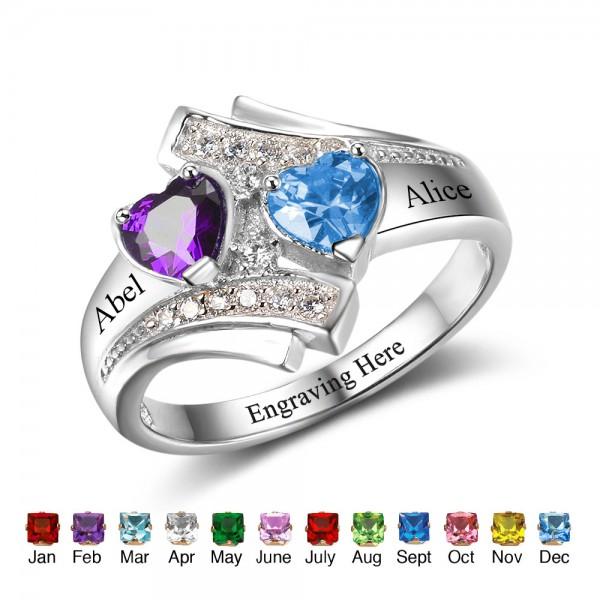 Fashion Silver Symbols Heart Cut 2 Stones Birthstone Ring In Sterling Silver