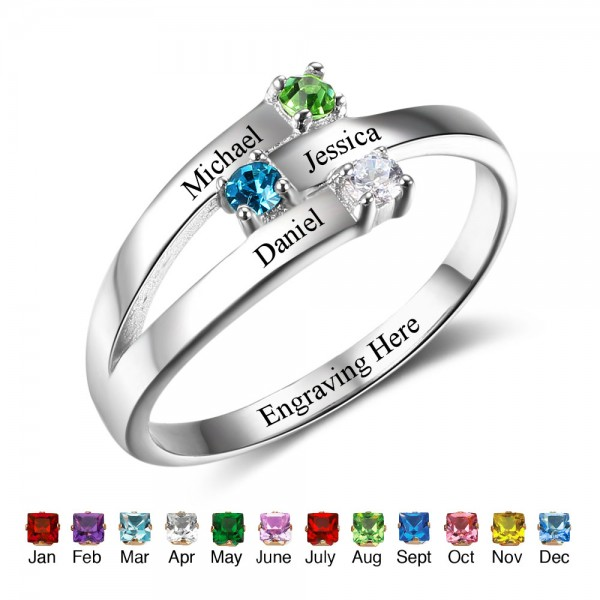 Customized Silver Stackable Round Cut 3 Stones Birthstone Ring In S925 Sterling Silver