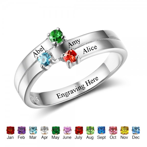 Engravable Silver Stackable Round Cut 3 Stones Birthstone Ring In Sterling Silver