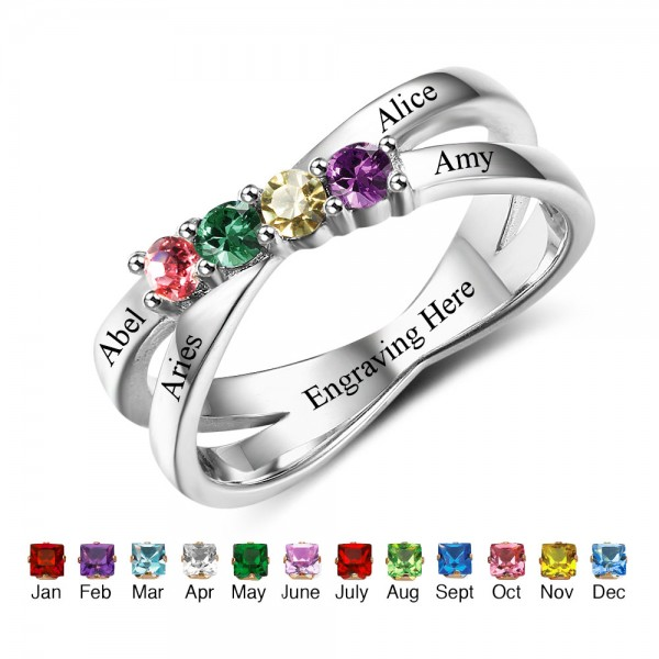 Personalized Silver Symbols Round Cut 4 Stones Birthstone Ring In 925 Sterling Silver