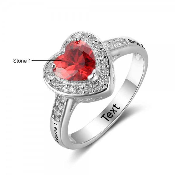 Engravable Silver Halo Heart Cut 1 Stone Birthstone Ring In Sterling Silver