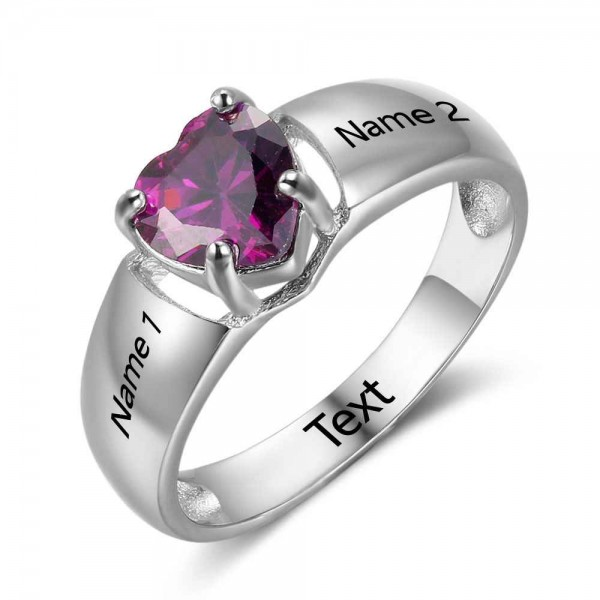 Fashion Silver Solitaire Heart Cut 1 Stone Birthstone Ring In 925 Sterling Silver