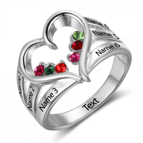 Personalized Silver Heart Round Cut 6 Stones Birthstone Ring In 925 Sterling Silver