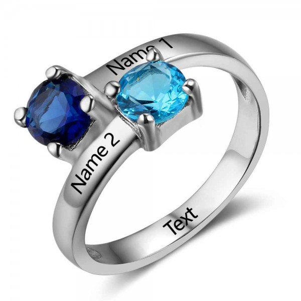 Fashion Silver Trends Round Cut 2 Stones Birthstone Ring In 925 Sterling Silver