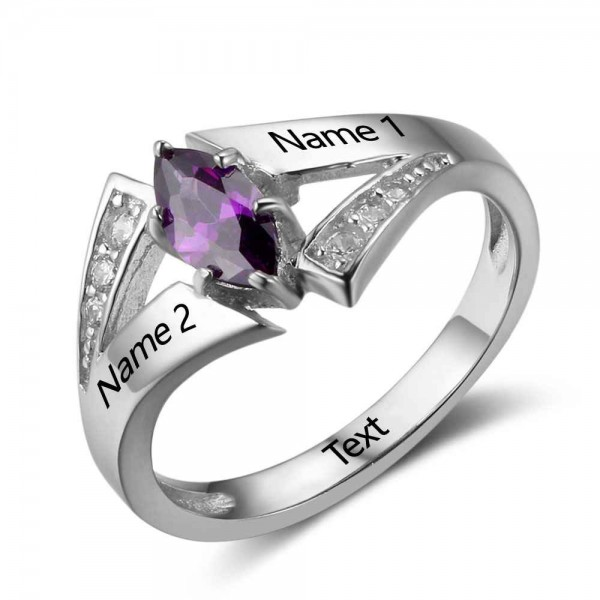 Fashion Silver Trends Marquise Cut 1 Stone Birthstone Ring In S925 Sterling Silver
