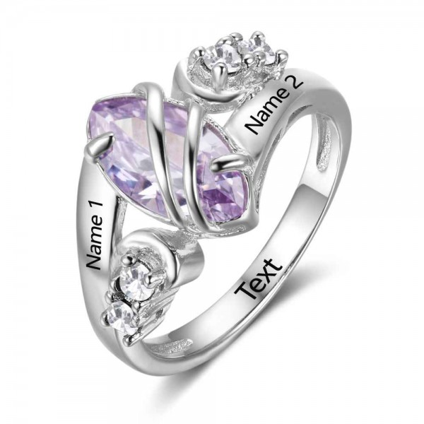 Affordable Silver Trends Marquise Cut 1 Stone Birthstone Ring In 925 Sterling Silver