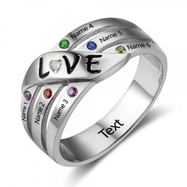 Personalized Silver Stackable Round Cut 6 Stones Birthstone Ring In S925 Sterling Silver