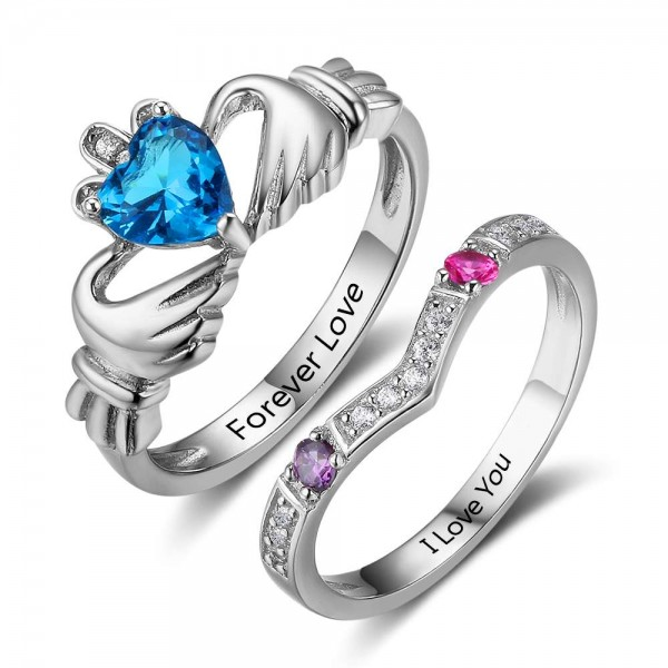Engravable Silver Claddagh Heart Cut, Round Cut 3 Stones Birthstone Ring In S925 Sterling Silver