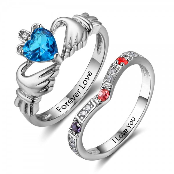Fashion Silver Claddagh Heart Cut, Round Cut 5 Stones Birthstone Ring In 925 Sterling Silver
