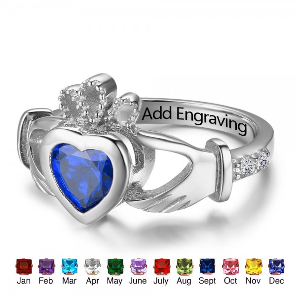Customized Silver Claddagh Heart Cut 1 Stone Birthstone Ring In Sterling Silver