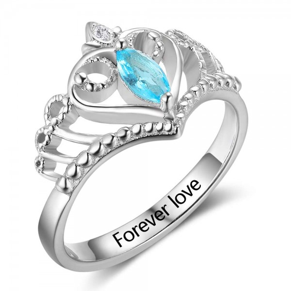 Engravable Silver Tiara Marquise Cut 1 Stone Birthstone Ring In Sterling Silver
