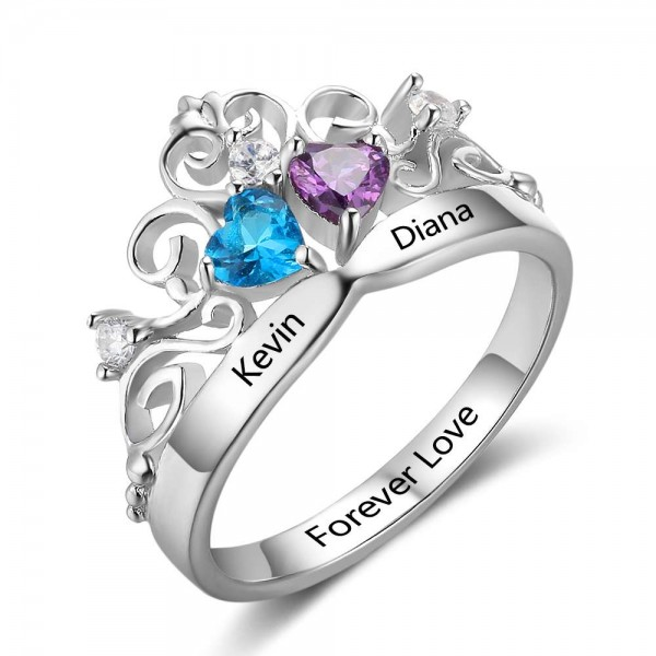 Affordable Silver Tiara Heart Cut 2 Stones Birthstone Ring In S925 Sterling Silver