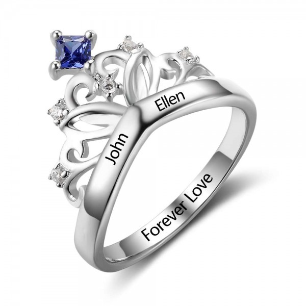 Customized Silver Tiara Princess Cut 1 Stone Birthstone Ring In 925 Sterling Silver
