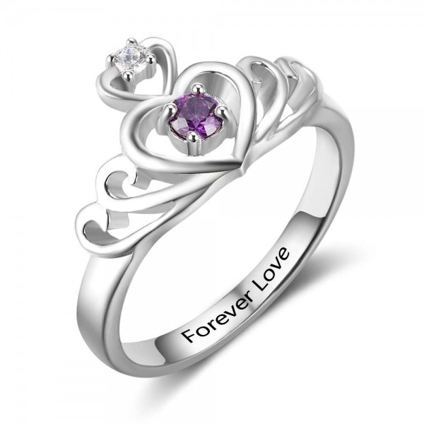 Customized Silver Tiara Round Cut 1 Stone Birthstone Ring In Sterling Silver