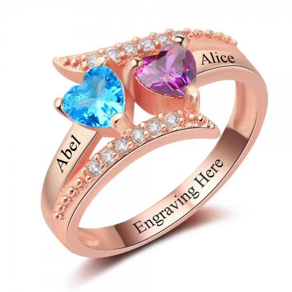Personalized Rose Symbols Heart Cut 2 Stones Birthstone Ring In S925 Sterling Silver