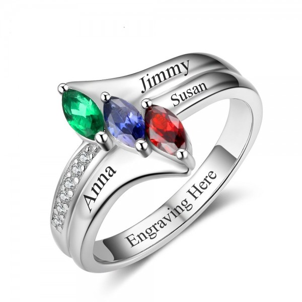 Fashion Silver Trends Marquise Cut 3 Stones Birthstone Ring In Sterling Silver