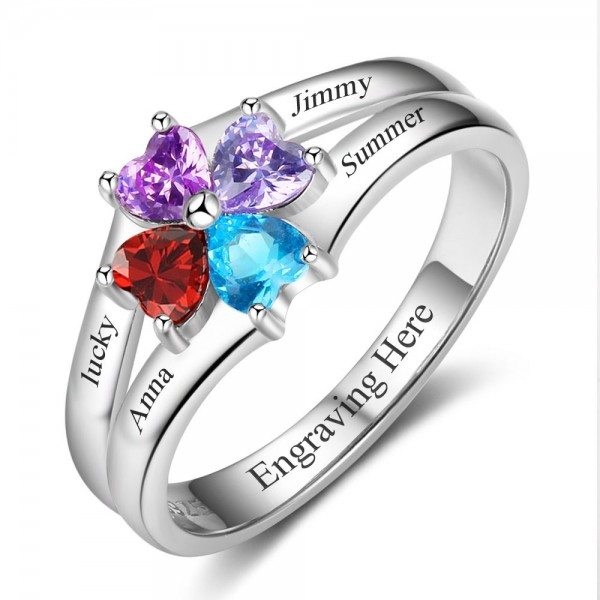 Personalized Silver Flowers Heart Cut 4 Stones Birthstone Ring