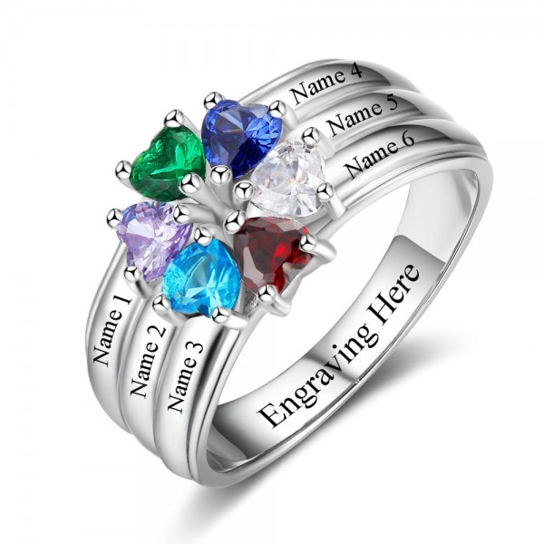Personalized Silver Flowers Heart Cut 6 Stones Birthstone Ring In Sterling Silver