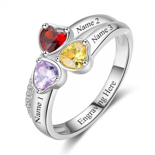 Fashion Silver Trends Heart Cut 3 Stones Birthstone Ring In S925 Sterling Silver