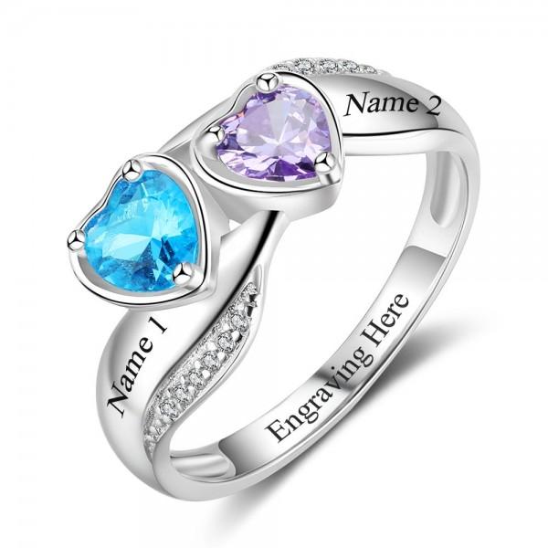 Fashion Silver Symbols Heart Cut 2 Stones Birthstone Ring