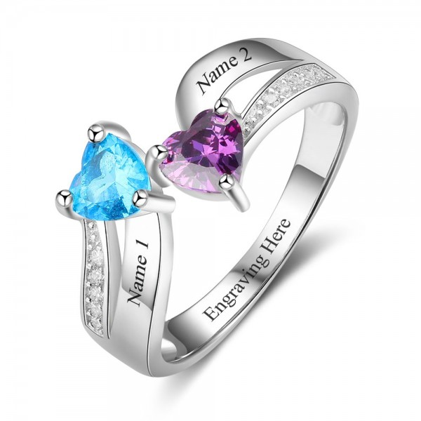 Personalized Silver Symbols Heart Cut 2 Stones Birthstone Ring In Sterling Silver