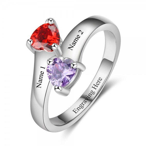 Personalized Silver Symbols Heart Cut 2 Stones Birthstone Ring Profect Gift