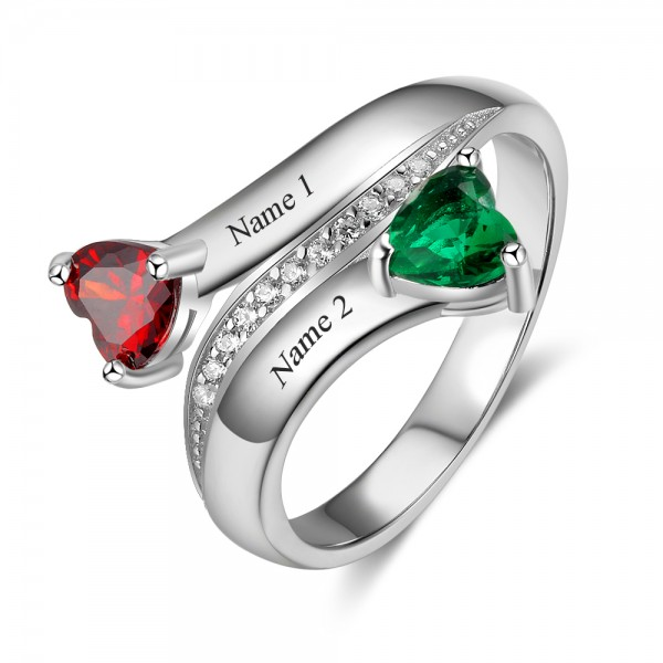 Customized Silver Symbols Heart Cut 2 Stones Birthstone Ring In 925 Sterling Silver