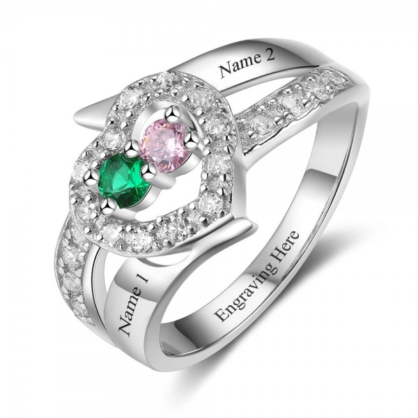 Customized Silver Heart Round Cut 2 Stones Birthstone Ring In 925 Sterling Silver