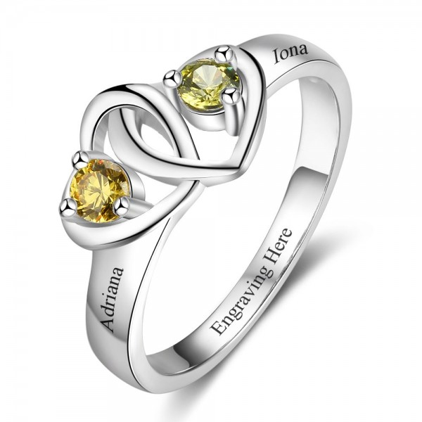 Unique Silver Heart Round Cut 2 Stones Birthstone Ring In Sterling Silver