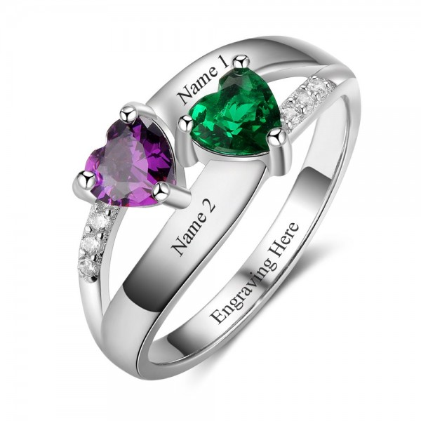 Engravable Silver Symbols Heart Cut 2 Stones Birthstone Ring In 925 Sterling Silver